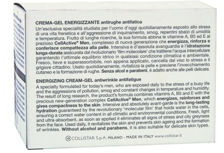 Collistar crema gel uomo antirughe antifatica
